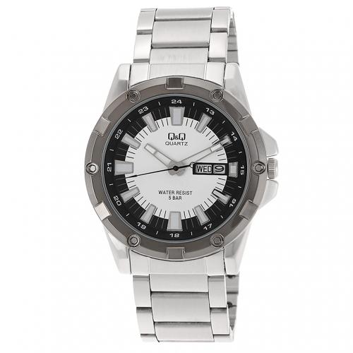 Q&Q A150J401Y Analog Wrist Watch for Men-Silver