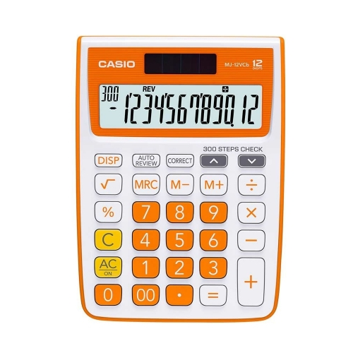 Casio MJ 12VCB-RG Solar and Battery Powered Basic Calculator-Orange