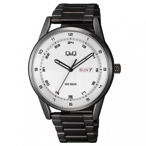 Q&Q A210J404Y Analog Day Date Wrist Watch for Men-Black
