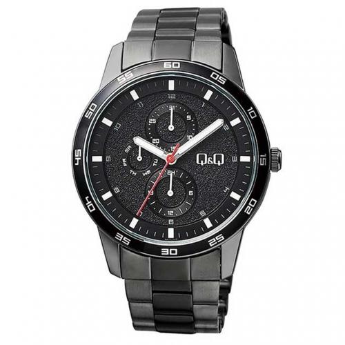 Q&Q AA38J402Y Black Chronograph Wrist Watch for Men